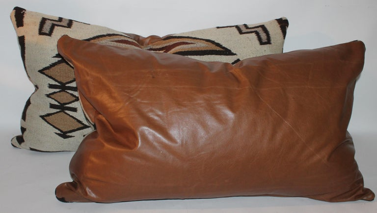 20th Century Large Navajo Indian Weaving Bolster Pillows with Leather Backing For Sale