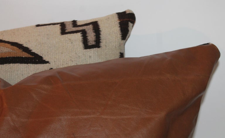 Large Navajo Indian Weaving Bolster Pillows with Leather Backing For Sale 1