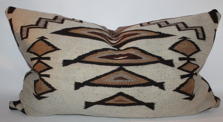 Large Navajo Indian Weaving Bolster Pillows with Leather Backing For Sale 2