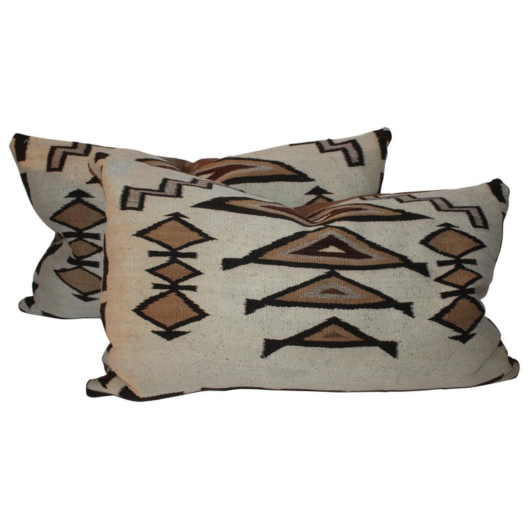 Large Navajo Indian Weaving Bolster Pillows with Leather Backing For Sale