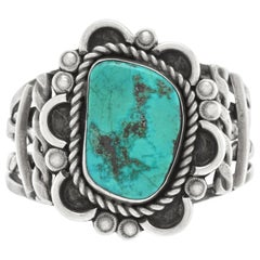 Large Navajo Turquoise-Set Sterling Cuff