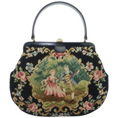 Large Needlepoint & Black Leather Handbag With Country French Scene, 1950's