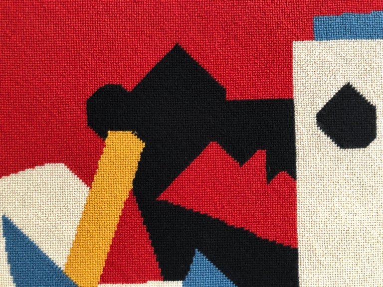 Large Needlepoint Picture after Stuart Davis Colonial Cubism Painting 4