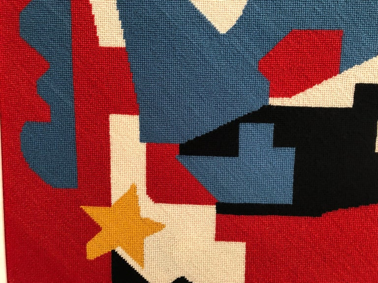 Large Needlepoint Picture after Stuart Davis Colonial Cubism Painting 5