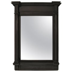 Large Neoclassical Black Painted Wood Frame with Mirror