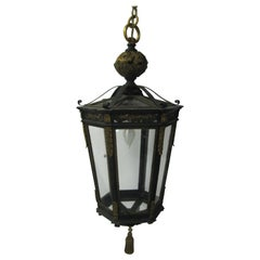 Large Neoclassical Gilt Bronze and Iron Hanging Pendant Lamp