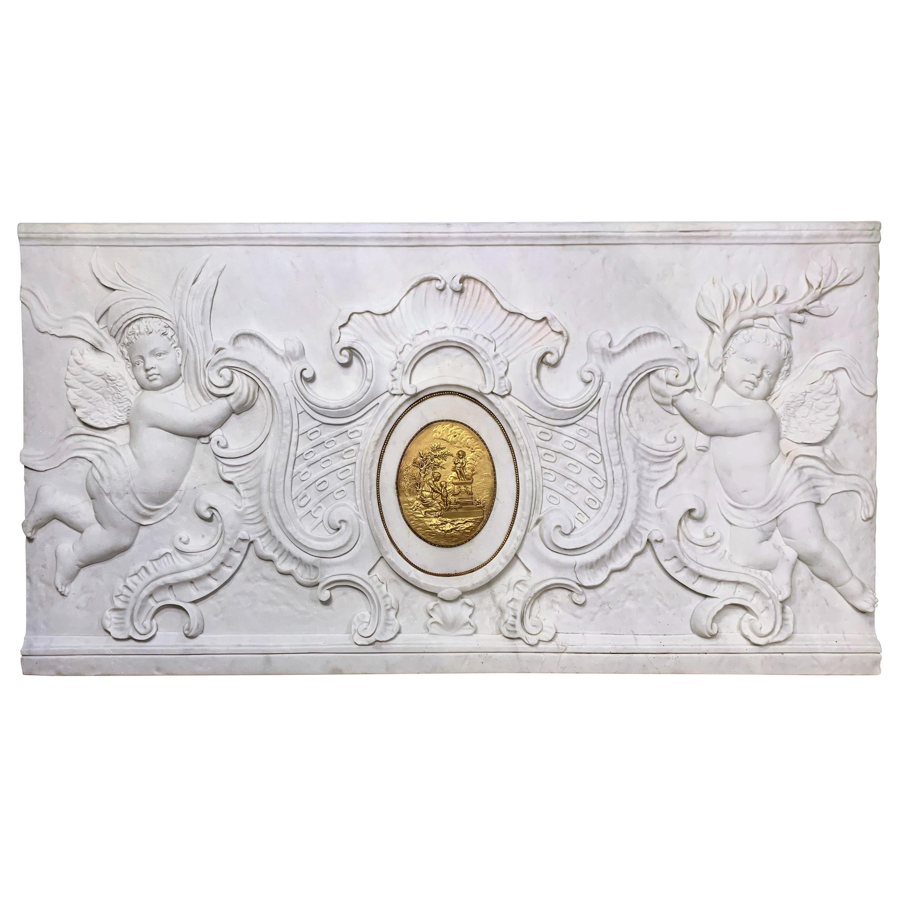 Large Neoclassical Hand Carved White Marble Bas Relief / Plaque