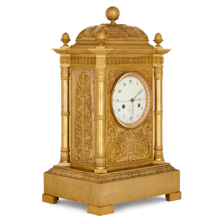 This magnificent mantel clock—which measures an impressive 82cm in height—was crafted in France, in the period when Napoleon I was Emperor (1804-1814, 1815). The clock was crafted by Michel-François Piolaine, an important clock-maker, working in