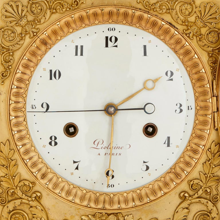 Large Neoclassical Style Gilt Bronze Mantel Clock by Piolaine In Good Condition For Sale In London, GB