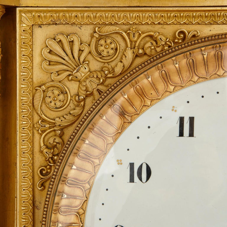 19th Century Large Neoclassical Style Gilt Bronze Mantel Clock by Piolaine For Sale
