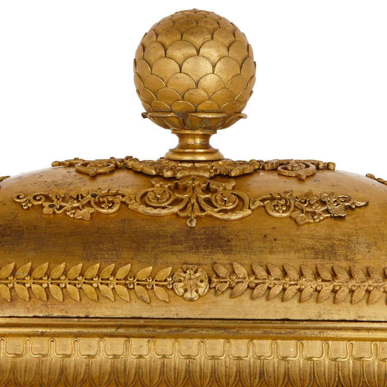 Large Neoclassical Style Gilt Bronze Mantel Clock by Piolaine For Sale 2