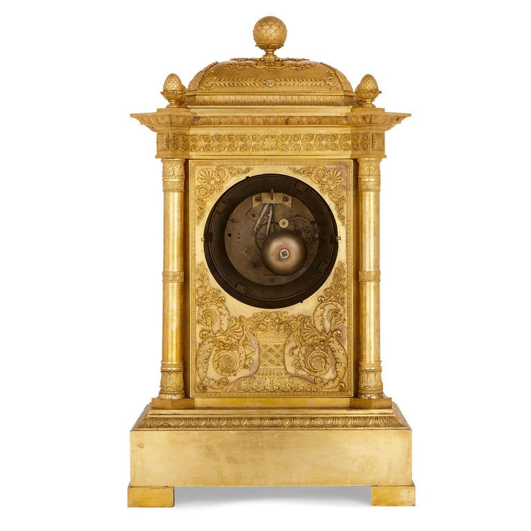 Large Neoclassical Style Gilt Bronze Mantel Clock by Piolaine For Sale 3