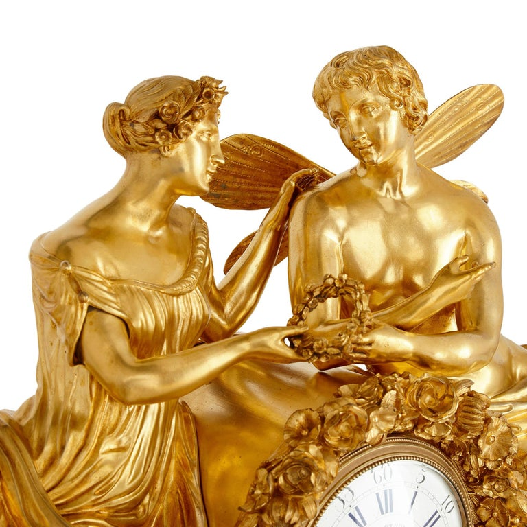 French Large Neoclassical Style Gilt Bronze Mantel Clock with Cupid and Psyche For Sale