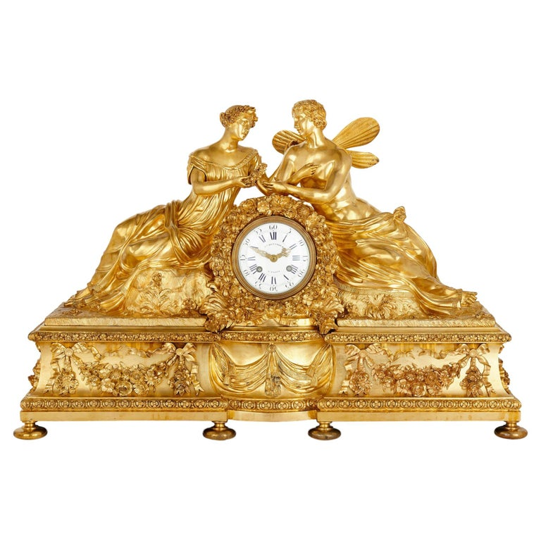 Large Neoclassical Style Gilt Bronze Mantel Clock with Cupid and Psyche For Sale