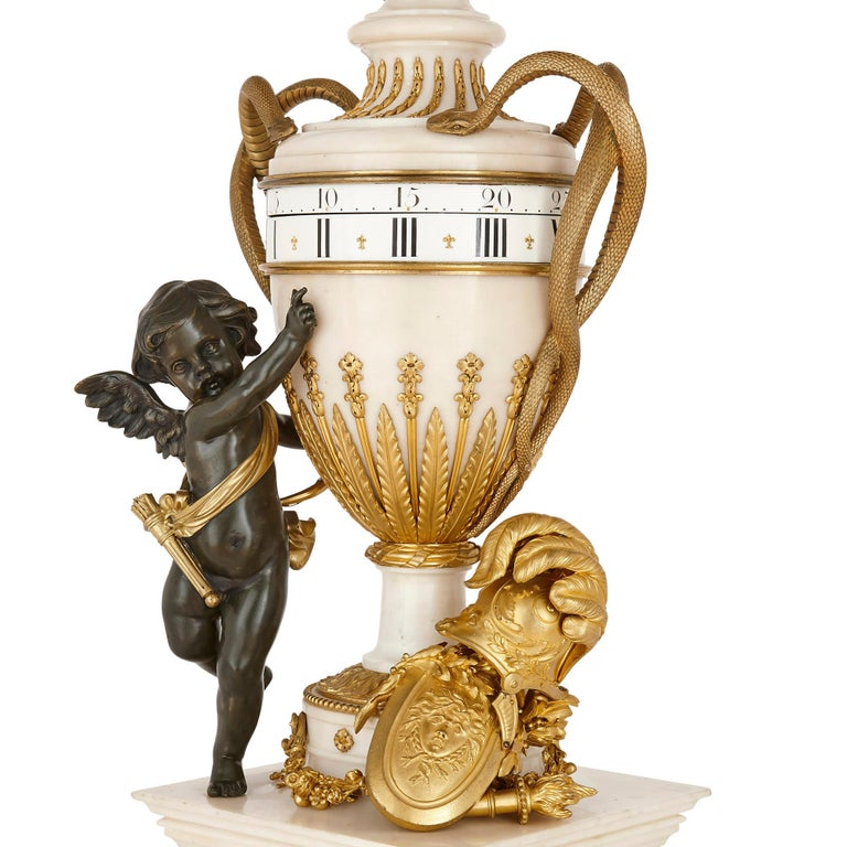 French Large Neoclassical Style Marble and Gilt Bronze Circular Movement Mantel Clock For Sale