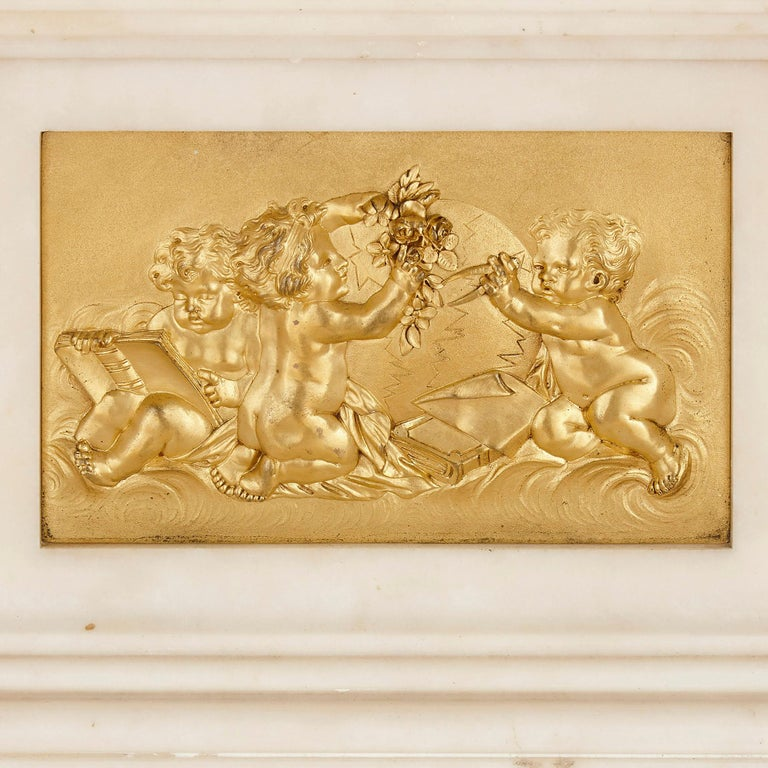 Large Neoclassical Style Marble and Gilt Bronze Circular Movement Mantel Clock For Sale 1