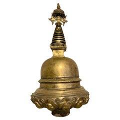 Large Nepalese Gilt Bronze Stupa, 16th/17th Century, Nepal