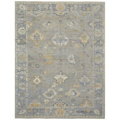 Large New Hand-Knotted Wool Turkish Oushak Rug