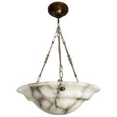 Large & Nicely Balanced Art Deco White & Black Alabaster Pendant Light / Fixture