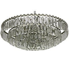 Large Nickel and Glass Chandelier attr. to Bakalowits, Austria, circa 1960s
