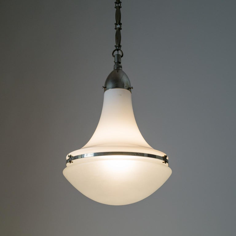 Large Nickel 'Luzette' Pendant by Peter Behrens, circa 1910 For Sale 8