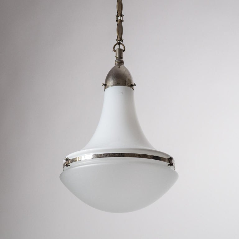 Large Nickel 'Luzette' Pendant by Peter Behrens, circa 1910 For Sale 9