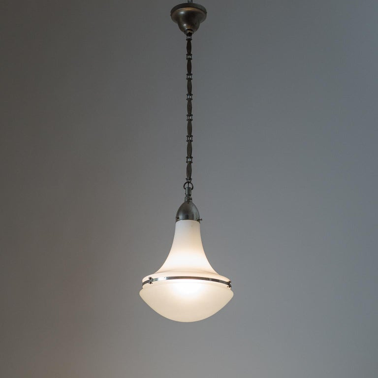 Large Nickel 'Luzette' Pendant by Peter Behrens, circa 1910 For Sale 11