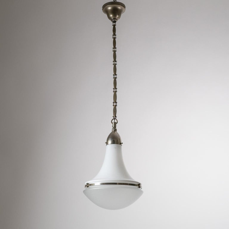 Rare large 'Luzette' pendant with nickeled hardware by Peter Behrens, circa 1910. This is a particularly rare find as it is the large version of Peter Behrens' iconic industrial design and it is one of the few nickeled versions with original