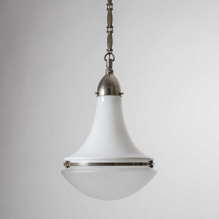 Large Nickel 'Luzette' Pendant by Peter Behrens, circa 1910 For Sale 1