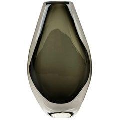 Large Nils Landberg 'Sommerso' Smoked Glass Vase for Orrefors, Sweden, 1970s
