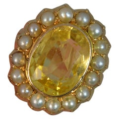 Large No Heat Ceylon Yellow Sapphire Pearl 9 Carat Gold Ring