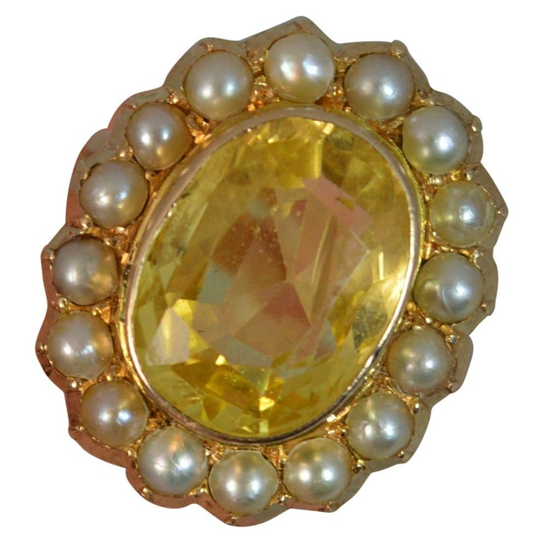 Large No Heat Ceylon Yellow Sapphire Pearl 9 Carat Gold Ring For Sale