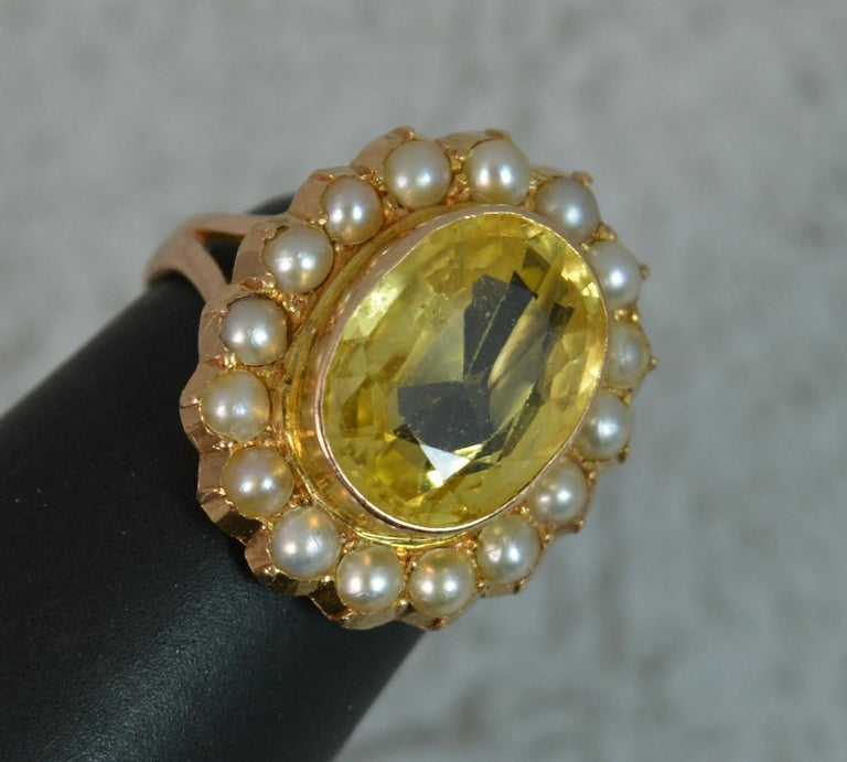 Large No Heat Ceylon Yellow Sapphire Pearl 9 Carat Gold Ring For Sale 6
