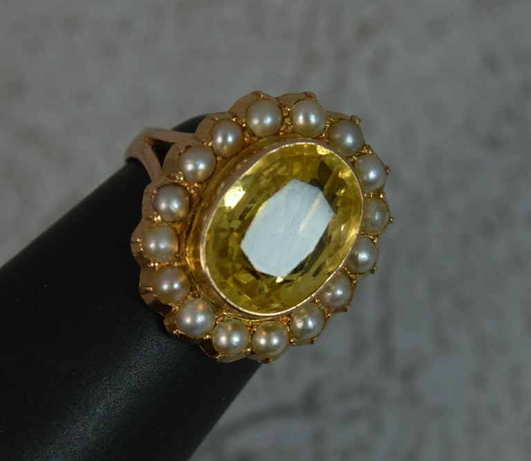 Large No Heat Ceylon Yellow Sapphire Pearl 9 Carat Gold Ring For Sale 7