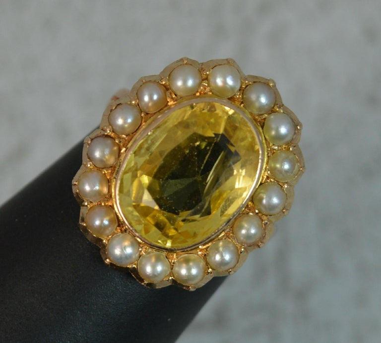 Large No Heat Ceylon Yellow Sapphire Pearl 9 Carat Gold Ring For Sale 8