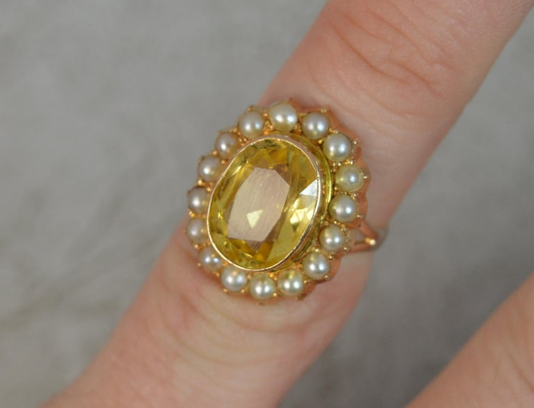 Victorian Large No Heat Ceylon Yellow Sapphire Pearl 9 Carat Gold Ring For Sale