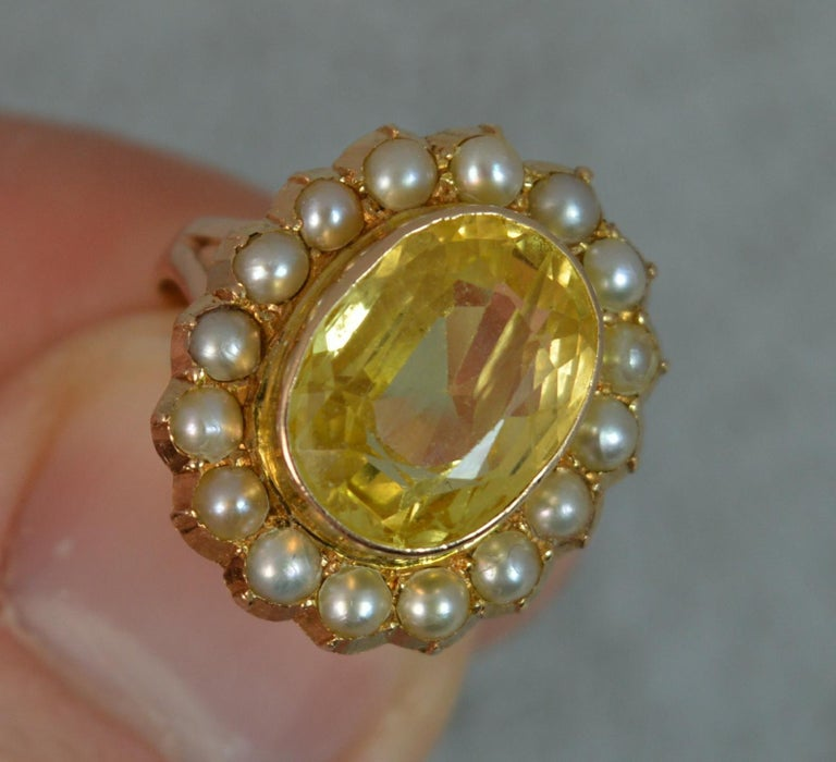 Large No Heat Ceylon Yellow Sapphire Pearl 9 Carat Gold Ring In Good Condition For Sale In St Helens, GB