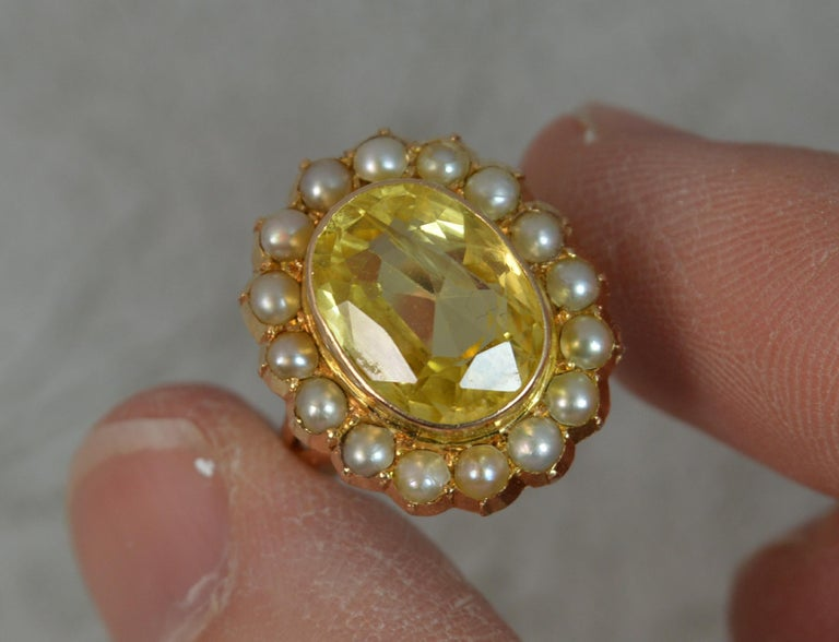 Large No Heat Ceylon Yellow Sapphire Pearl 9 Carat Gold Ring For Sale 1