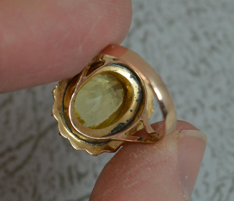 Large No Heat Ceylon Yellow Sapphire Pearl 9 Carat Gold Ring For Sale 2