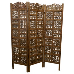 Large North African Carved Pierced 3 Fold Screen