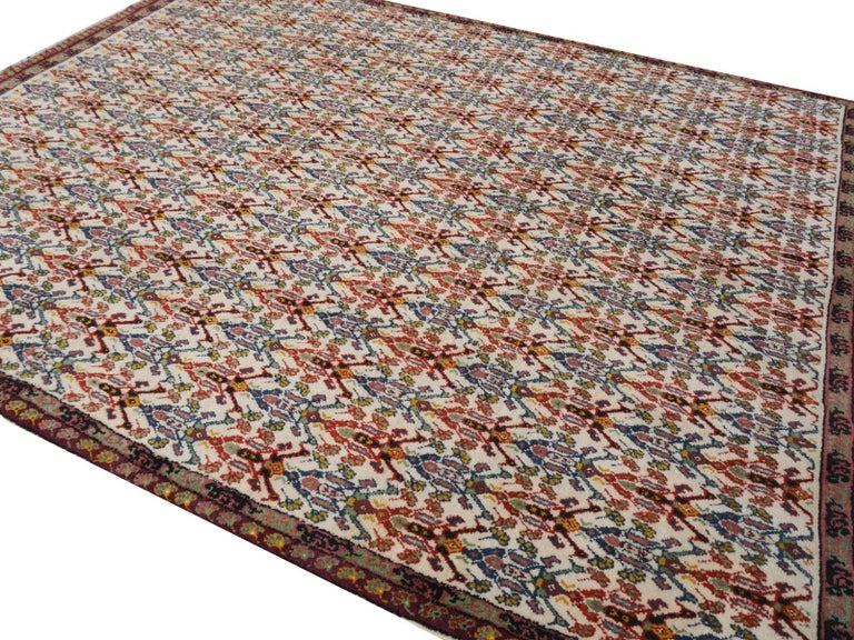 Hand-Knotted Large North African Moroccan Vintage Rug, Beige, Purple, Gold, Pink Blue For Sale