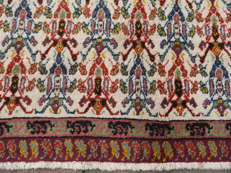 Mid-20th Century Large North African Moroccan Vintage Rug, Beige, Purple, Gold, Pink Blue For Sale