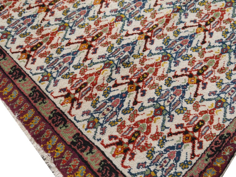 Wool Large North African Moroccan Vintage Rug, Beige, Purple, Gold, Pink Blue For Sale