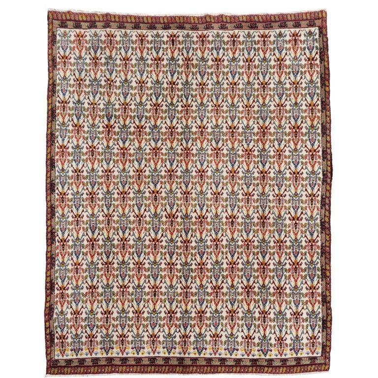 Large North African Moroccan Vintage Rug, Beige, Purple, Gold, Pink Blue For Sale