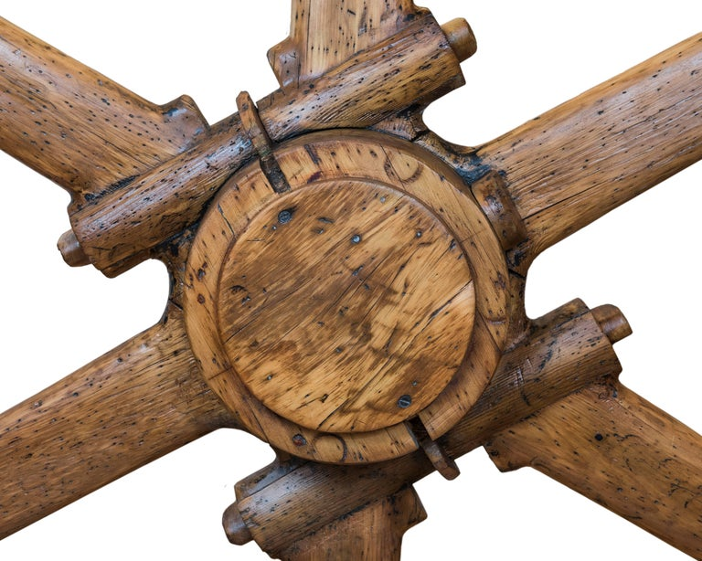Hand-Crafted Large North American Industrial Wooden Wheel For Sale