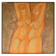 Large Nude Painted Bas-Relief by Eric Satchwell, 1973