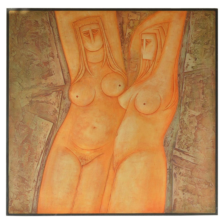 Large Nude Painted Bas-Relief by Eric Satchwell, 1973 For Sale