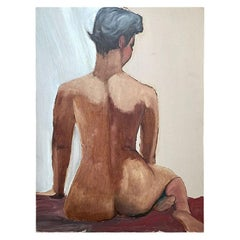 Large Nude Portrait Painting of a Woman