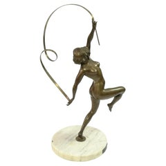 Large Nude Ribbon Gymnast Bronze Sculpture, from the  1920's, by Maugsch