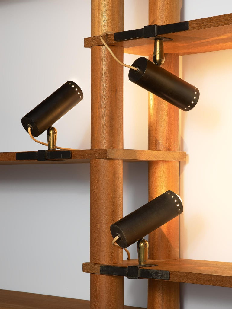 Large set of '181' wall lights by O-Luce  Giuseppe Ostuni for O-Luce, large set of wall lamps, Italy, 1950s  This large set of wall lights is applicable to many different ways. Attach the lamp to a desk or a table and use it as a desk light, fix